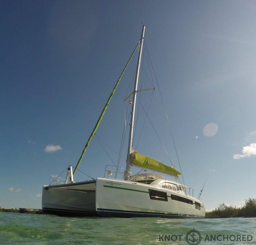 beached catamaran
