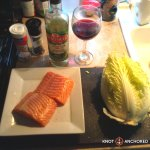 Salmon, napa cabbage, white wine vinegar, salt and pepper and wine for your efforts!