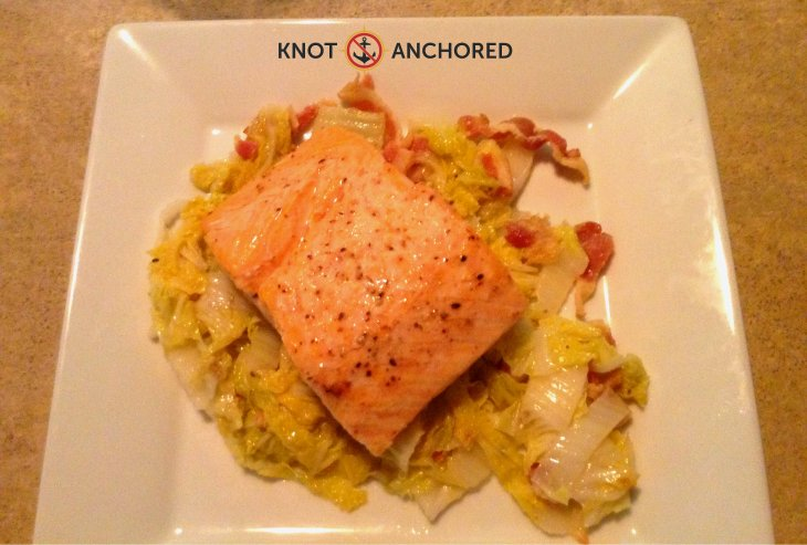 Delicious Braised Napa Cabbage with Perfect Salmon