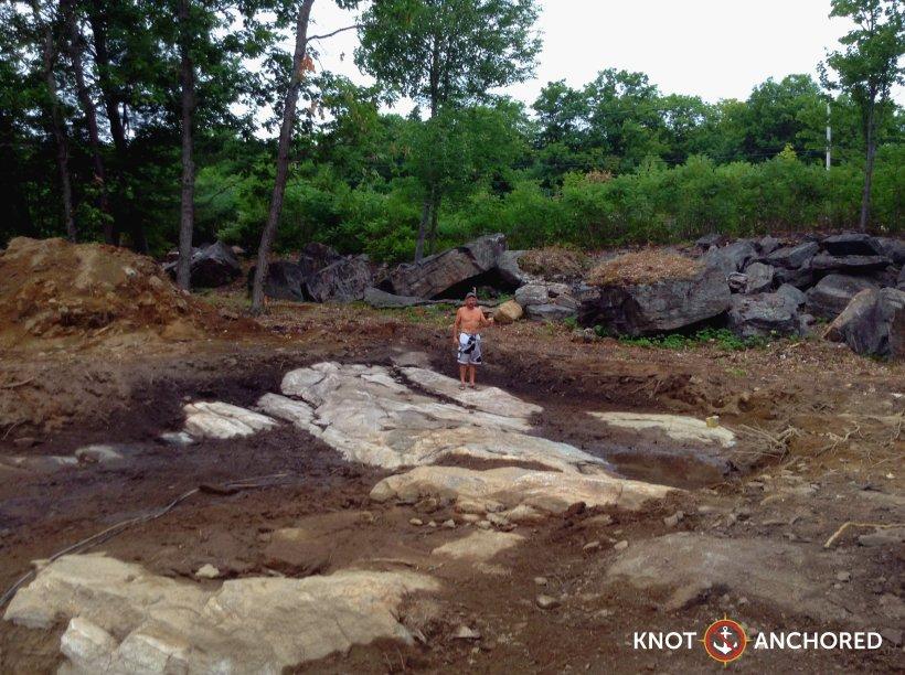 Preparing the site to build on Boshkung Lake