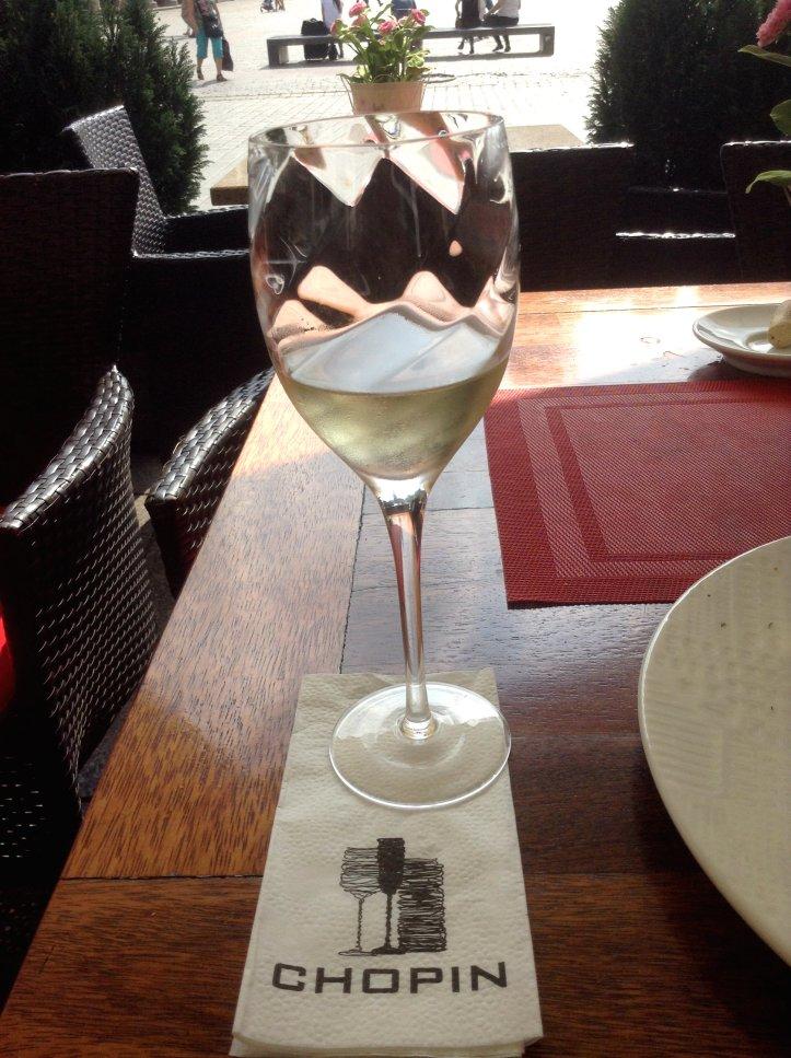 Chopin Resto in Krakow, wine glass
