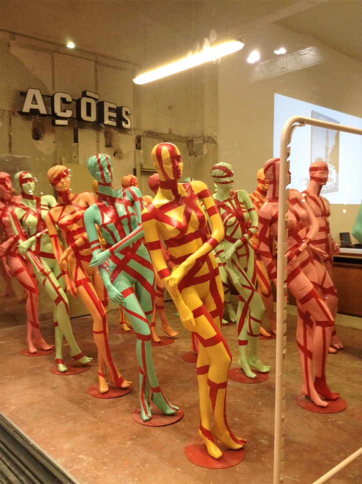 mannequins, colorful, leaning, art