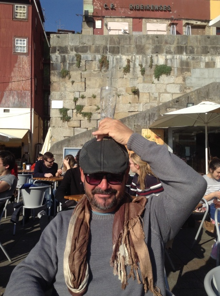 Beer order, outside cafe, Porto, smiling man