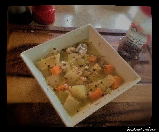chicken soup bowl, cutting board