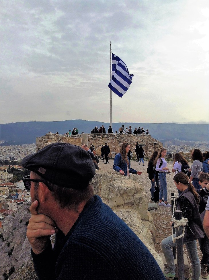 Acropolis, Greek flag, Athens