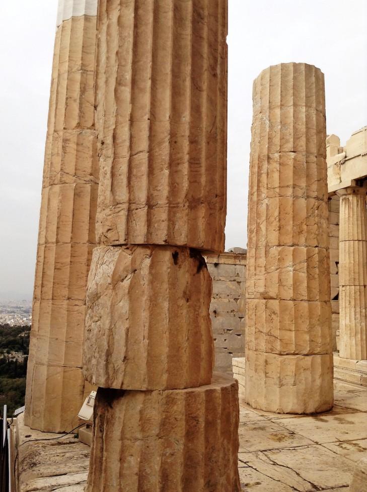columns, Athens, ruins, Greece, Acropolis