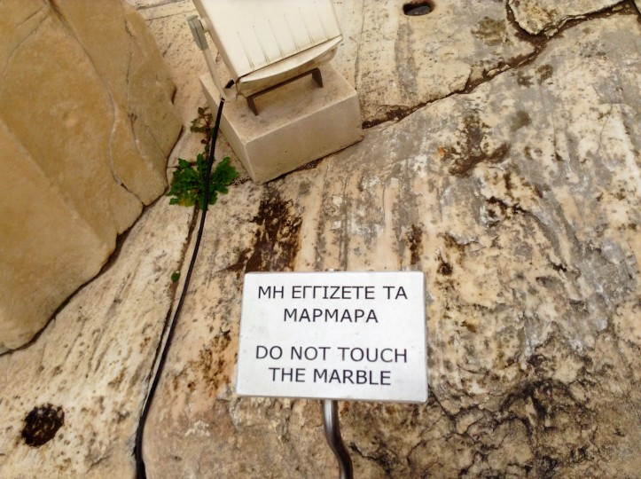 Marble, Parthenon, Greece, Athens, do not touch sign