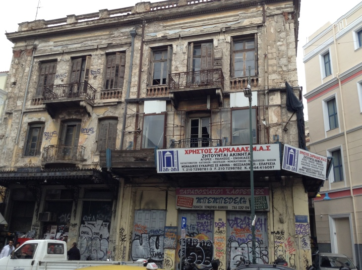 abandoned building, Athens, Graffitti