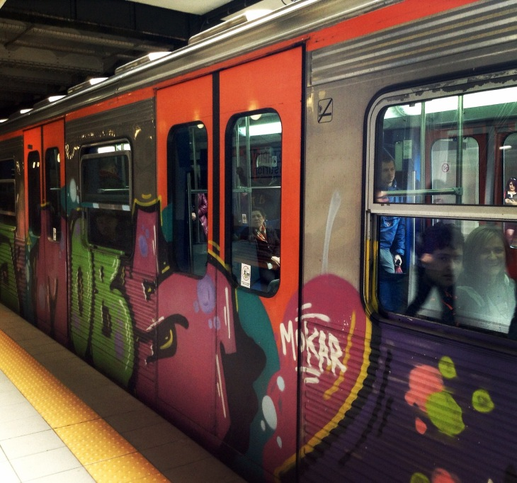 subway car, Greece, Athens, graffiti