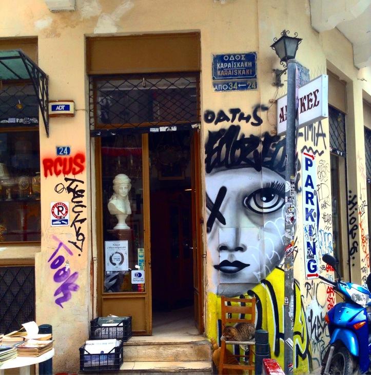 Athens, graffiti, storefront, bookshop