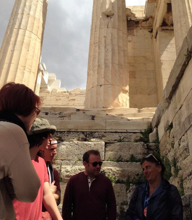 tour guide, Acropolis, Athens, columns