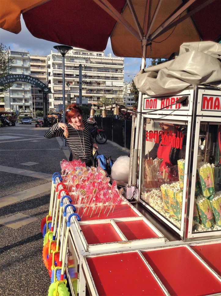 candy cart, Greece, Athens, popcorn, happiness, seaside park