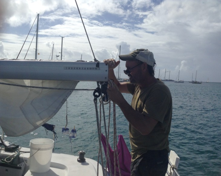 sail work, catamaran Forever