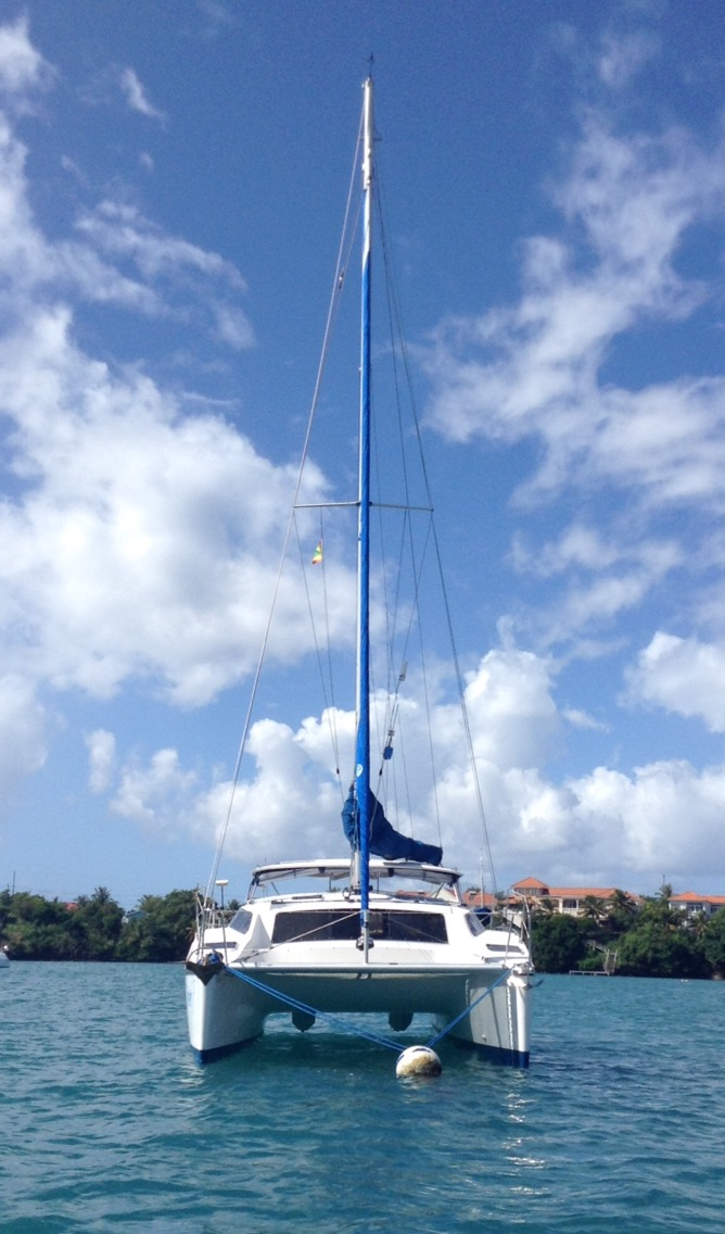 Forever catamaran, on mooring ball
