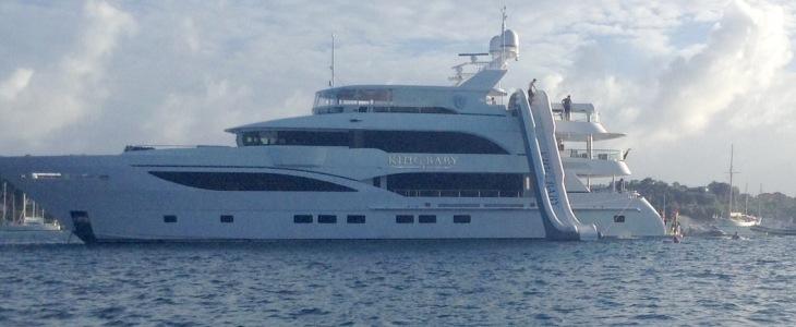 King Baby, mega yacht, super slide, rock n roll interior