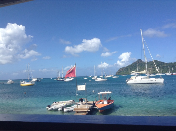 Boats anchored, Caribbean, restaurant window view, Caribbean, Tyrrel Bay