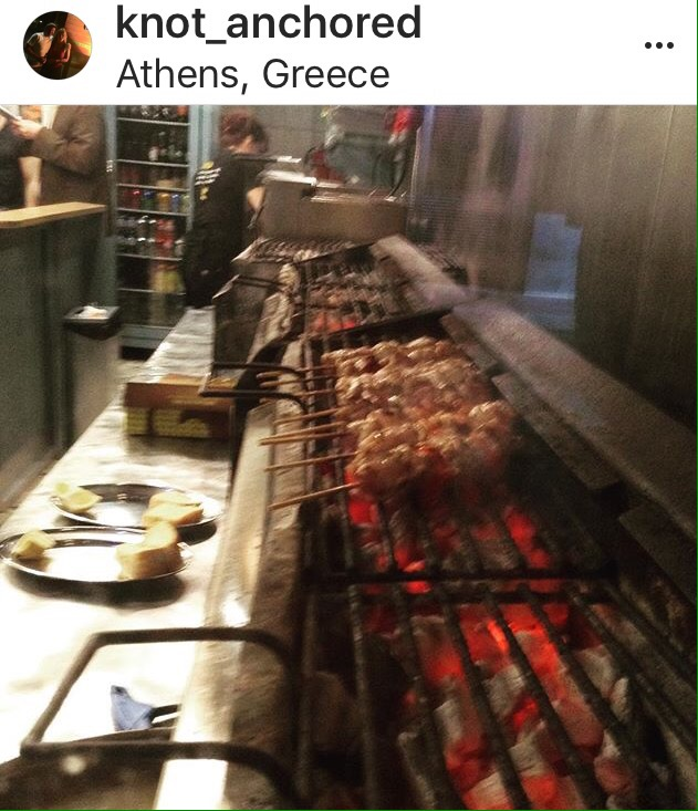 Charcoal grill, shish kabobs, Greece, Athens