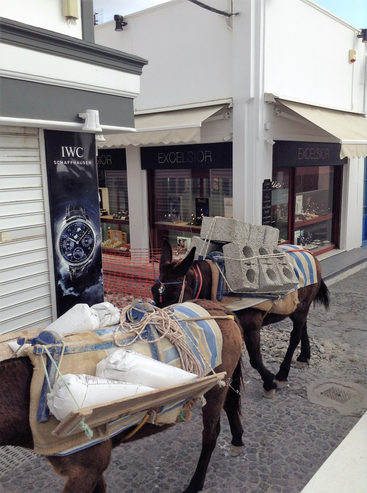 donkeys with cinder blocks, Santorini