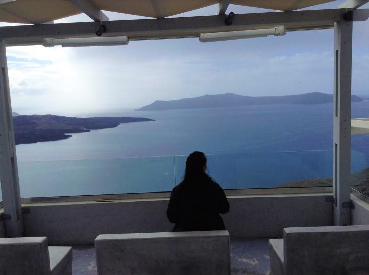 overlooking the sea in Santorini
