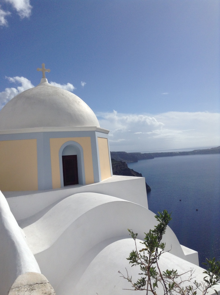 classic dome church, Santorini, Greece, seaside