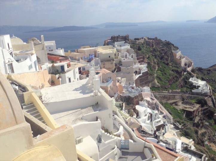 Santorini from above overlooking the Sea