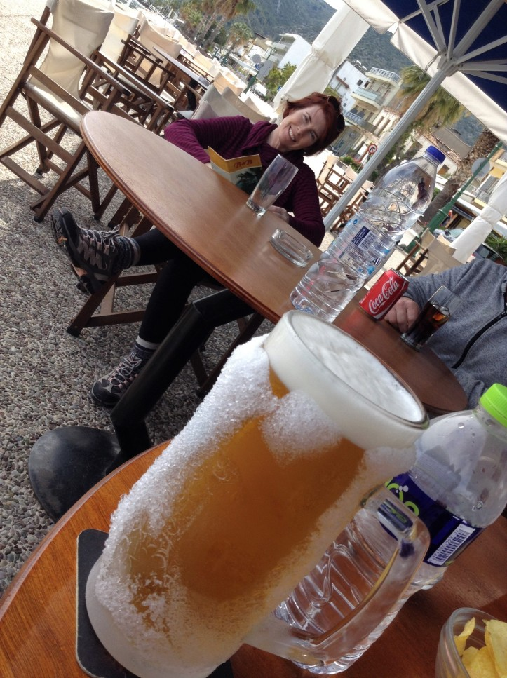 Catamaran, Greek Islands, sailing vacation, frosy beer, taverna