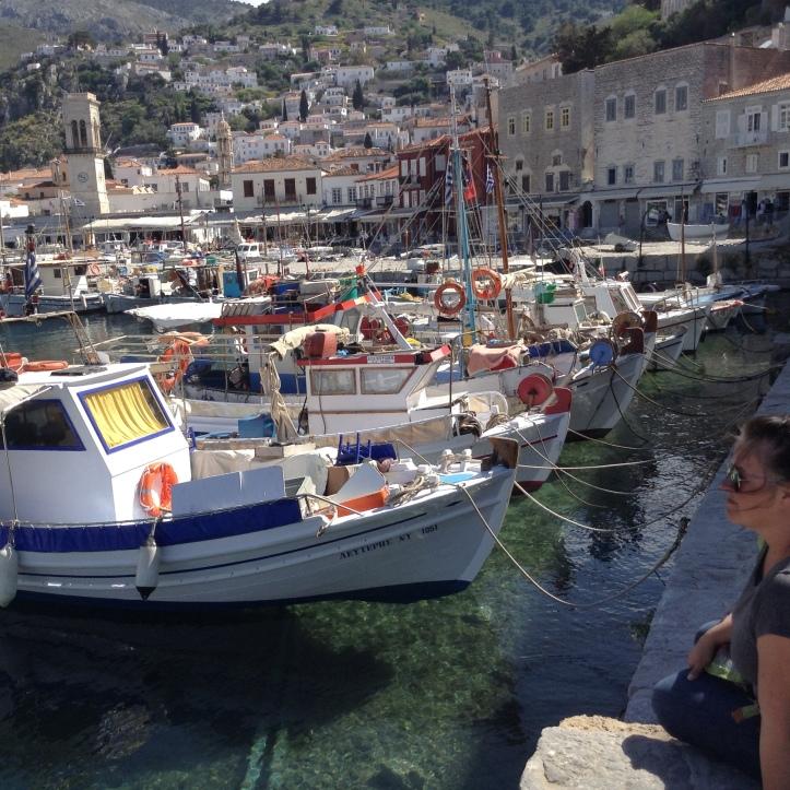 Catamaran, Greek Islands, sailing vacation, fishing boats, Hydra