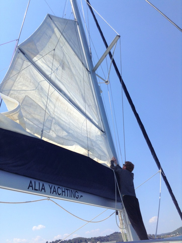 Greek Islands, catamaran, sailing vacation, mainsail