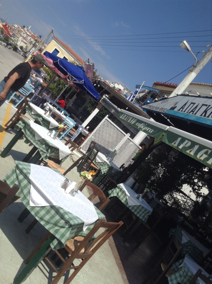 Greek Islands, catamaran, sailing vacation, taverna, checkered tablecloth, fresh flowers