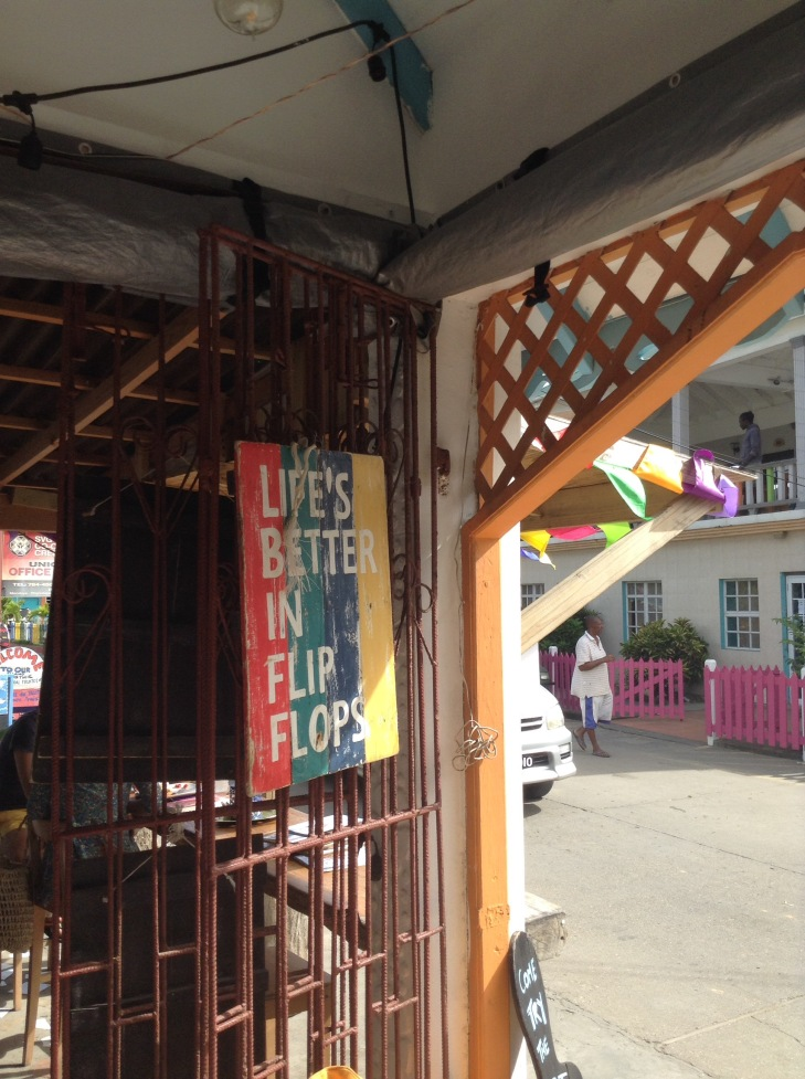 Sign out front, Caribbean store, marketplace, Union island,