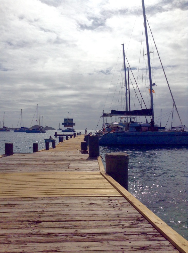 Dock, catamaran, waterfront, Caribbean