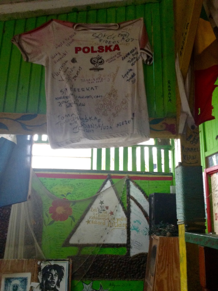 Signed shirt donation, Caribbean bar, Righteous and de Youth, Mayreau