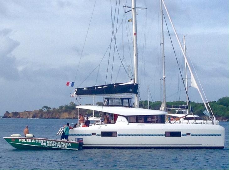 Boat vendor, Polish, Mayreau, catamaran