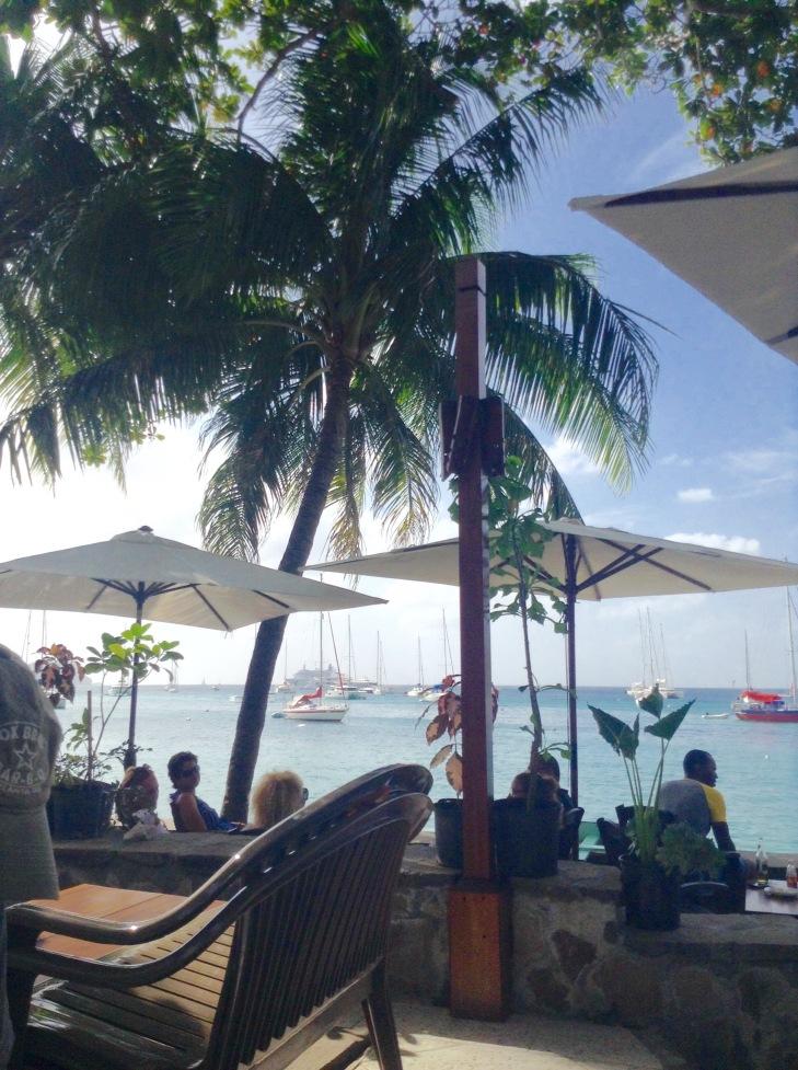 Sun umbrellas, patio, sailboats, vacation, lunch spot, Bequia, Caribbean