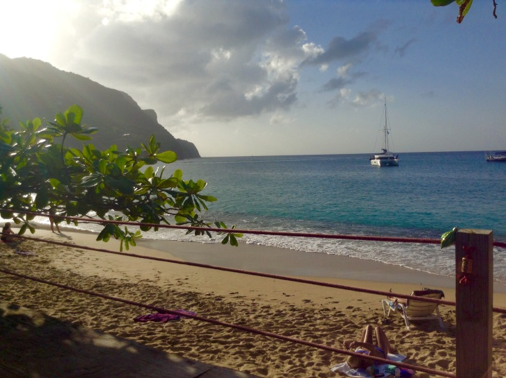 Catamaran, blue water, tropical, beach, Bequia, Caribbean