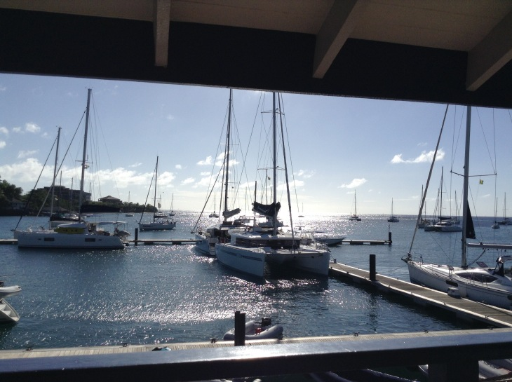 Blue lagoon Marina, catamarans, St Vincent, sparkly water