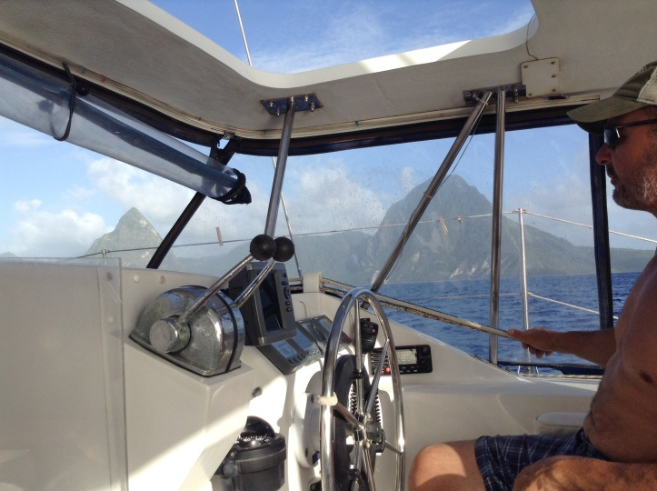 Catamaran helm, sailing, St Lucia, Pitons, Caribbean