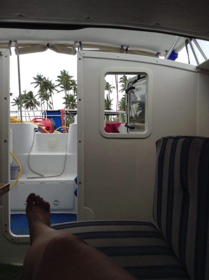 PDQ32, sailing catamaran, sailing vacation, palm trees, Marigot bay, St Lucia