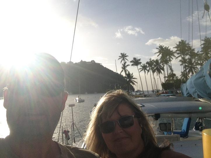 Couple, blonde, windswept, Palm trees, smiling, sunny, Caribbean