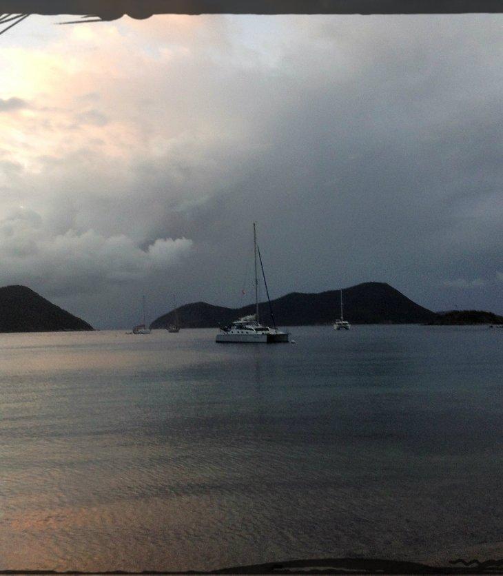 Catamaran, anchored, St Johns, USVI, sailing vacation