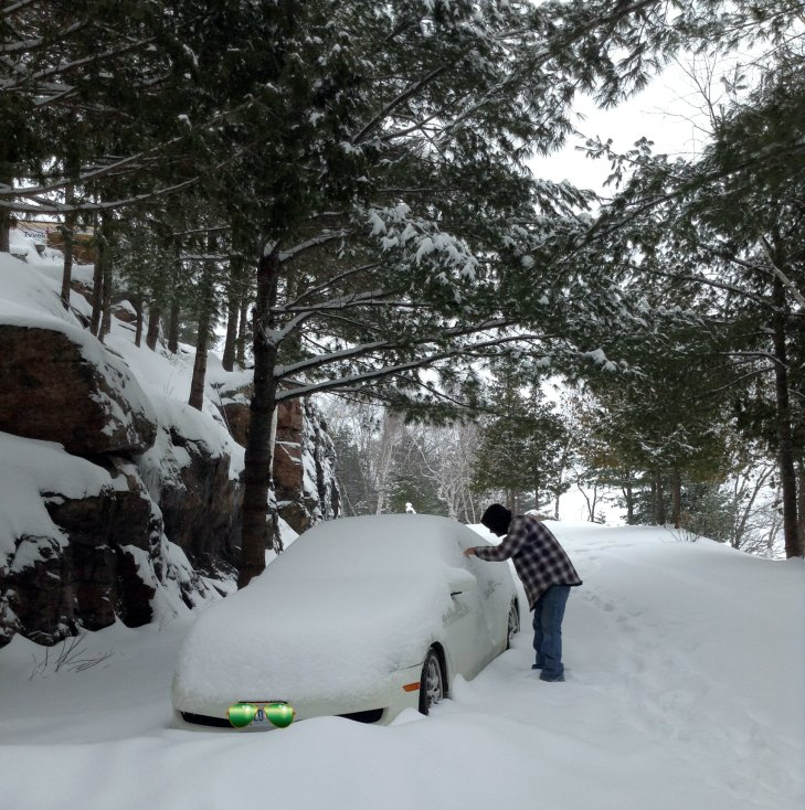 snow, forest, car,trail