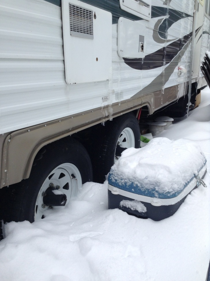 snow, cooler, trailer