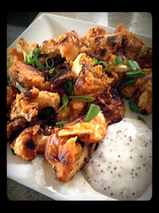 cauliflower, plated, green onions