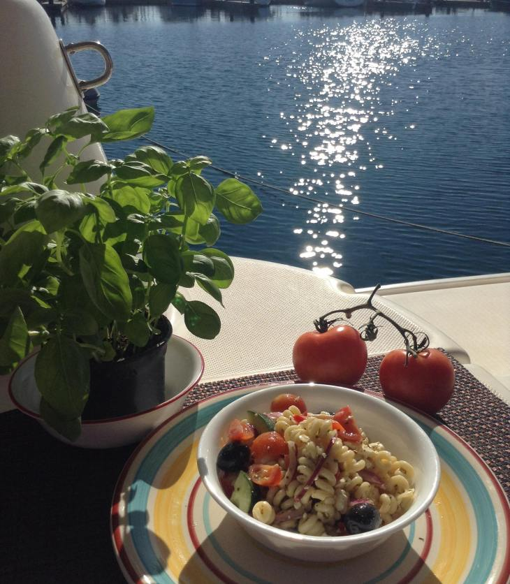 marina-in background-pasta-salad-colorful-plate-basil-tomatos